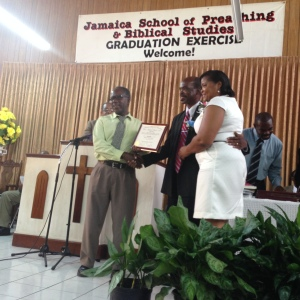 Bro & Sis Myrie from Patrick City collecting their certificate in Biblical Studies